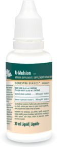 A-Mulsion by Genestra. A-Mulsion is a natural lemon-flavoured, naturally emulsified Vitamin A. It is emulsified using the unique WisDOM-3 process, allowing for potential maximum absorption and utilization. A-Mulsion is indicated as a factor in the maintenance of good health; helps maintain eye sight, skin membranes and immune function; helps in the development and maintenance of night vision, bones and teeth and helps prevent Vitamin A deficiency.