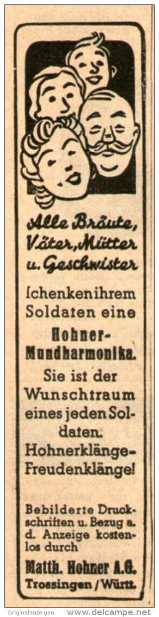 Original-Werbung/ Anzeige 1941 - HOHNER - MUNDHARMONIKA / WUNSCHTRAUM EINES JEDEN SOLDATEN- ca. 20 X 90 mm