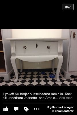 In my new bathroom. With help from Fru Larsson I know have a wonderful commode.
