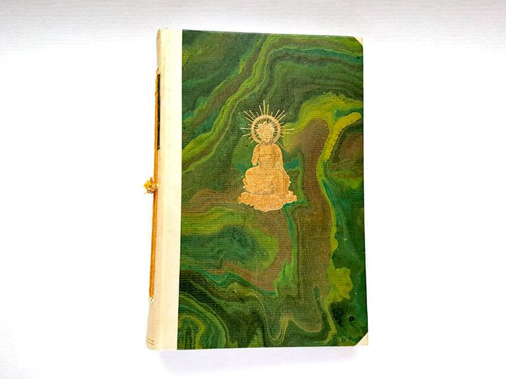 Buddha, art journal, diary, sketch book, book, re-purposed book, drawing paper, green, gold, mixed media book, vintage, vintage book by BucketOfBadgers on Etsy