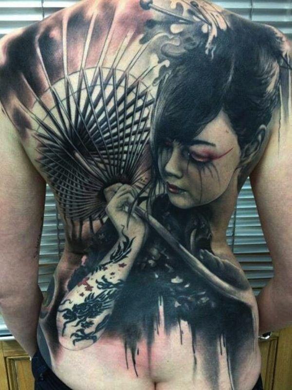 Full back sad geisha tattoo #TattooModels #tattoo