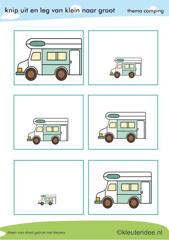 Camper van groot naar klein voor kleuters, thema camping, kleuteridee, preschool camping theme.