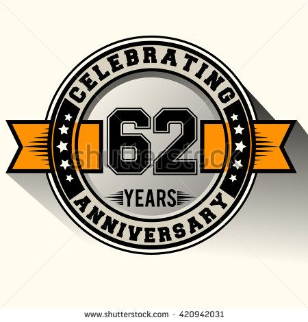 Celebrating 62nd anniversary logo, 62 years anniversary sign with ribbon, retro design. - stock vector