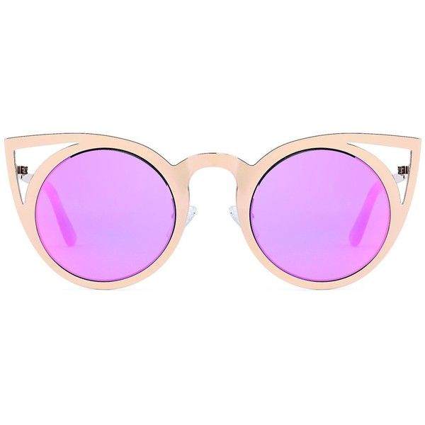 CATWALK Womens Cat Eye Metal Cut Out Fashion Frame Round Sunglasses... ($5.99) ❤ liked on Polyvore featuring accessories, eyewear, sunglasses, round sunglasses, cat eye mirrored sunglasses, cateye sunglasses, cat eye glasses and mirrored sunglasses