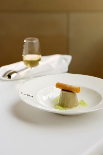 Luke's liquorice parfait, lime syrup & tuile from Salt grill by Luke Mangan.