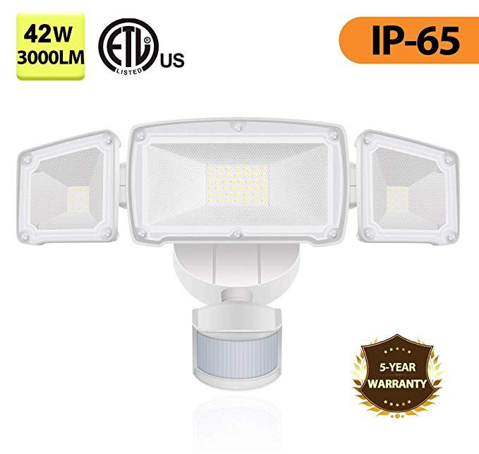 Led Motion Sensor Lights Led Outdoor Security Light For Entryways Stairs Yard And Garage 42w Outdoor Security Lighting Security Lights Motion Sensor Lights