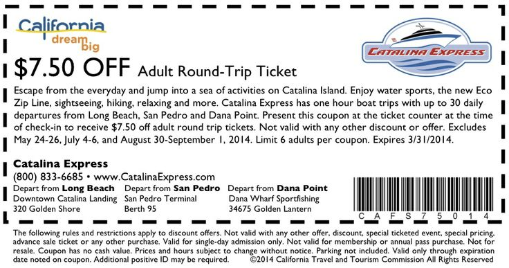 Catalina Island Promo Codes. Catalina Island features fabulous land and water activities - including the new Zip Line and SeaTrek Undersea Adventure, romantic lodging for every taste and budget, a diversity of dining experiences, and extraordinary venues for weddings and group events.