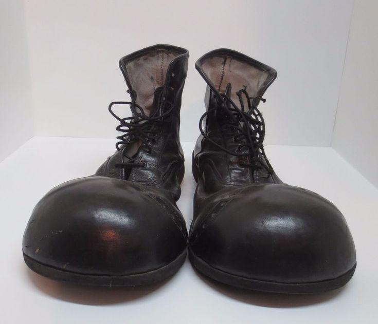 Vintage 1970's Size 10 10 1 2 Black Leather Clown Shoes Van Doren Rubber Co | eBay