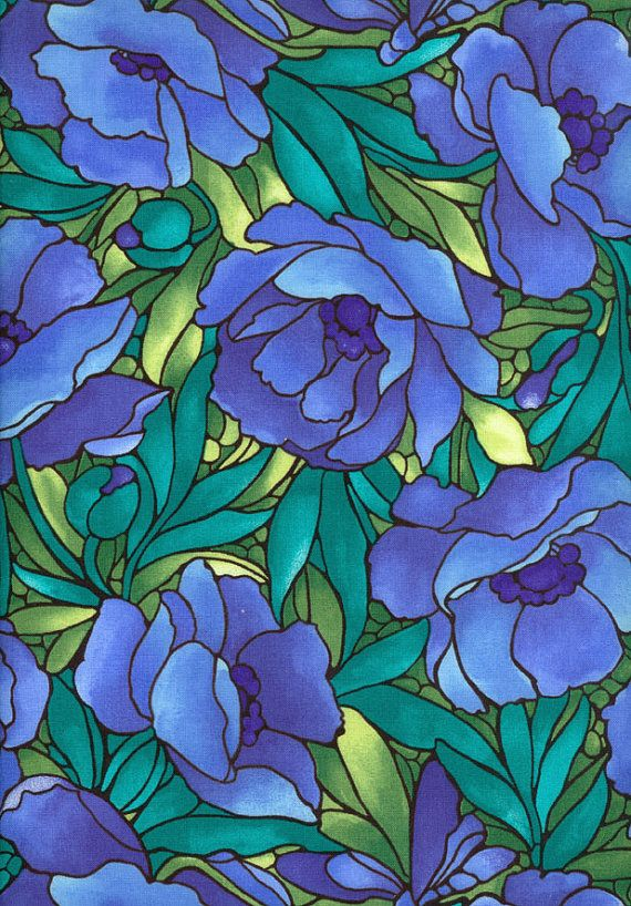 This beautiful print features vibrant big blue flowers with green and teal leaves in a stained glass design. From Fabric Freedom for E E Schenck. 100% Cotton.