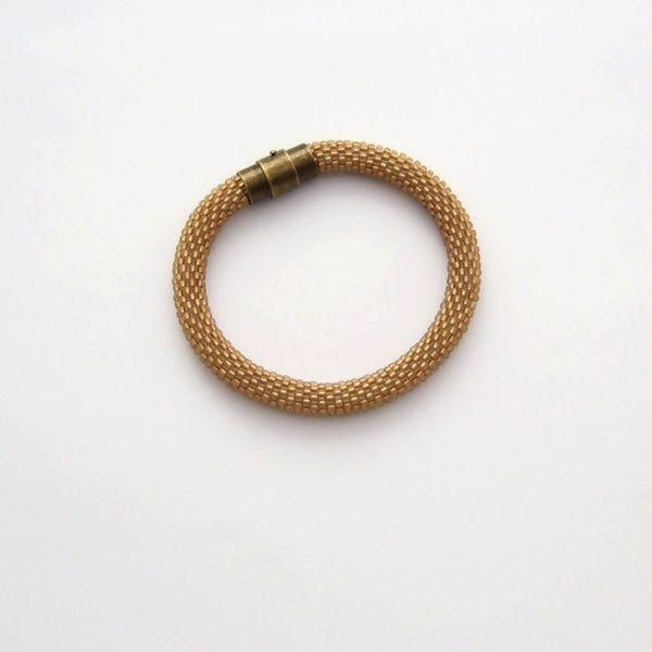 Bransoletka wąż szroniony złoty brąz w NaLeMi na DaWanda.com