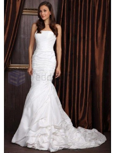 Trumpet Mermaid Strapless Satin Court Train Wedding Dress with Beading