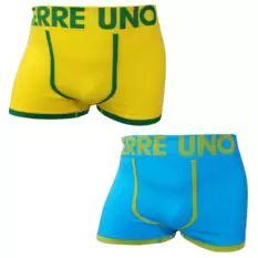 Pierre Uno - Celana Dalam Pria - Seamless Boxer Briefs 012 - Kuning dan Biru Langit - 2 Pcs