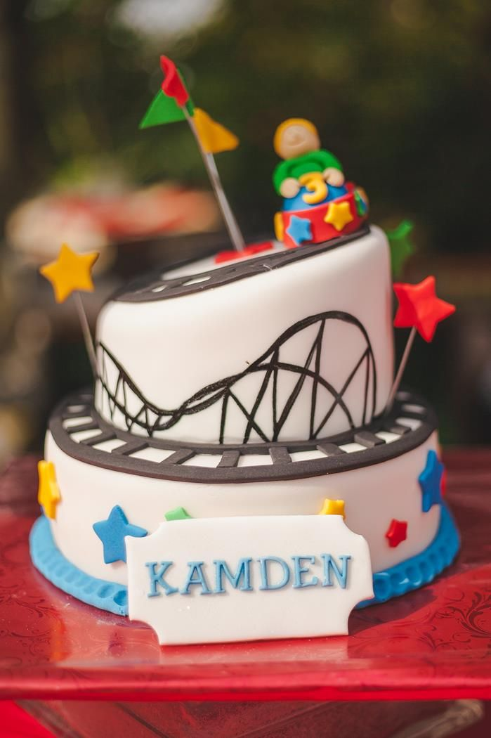 A carnival ride CAKE at a CARNIVAL PARTY via www.KarasPartyIdeas.com #carnival #circus #PartyIdeas #cake
