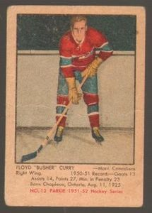 #12 Floyed Curry (1951-1952) - Parkhurst Products Ice Hockey card. New on http://colnect.com/sports_cards