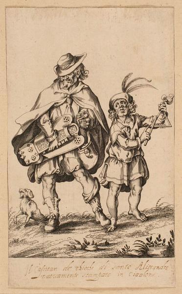 Triangle player and hurdy gurdy.  Bellange Jacques, Le concert grotesque (1595-1616), conservé à la BNF.