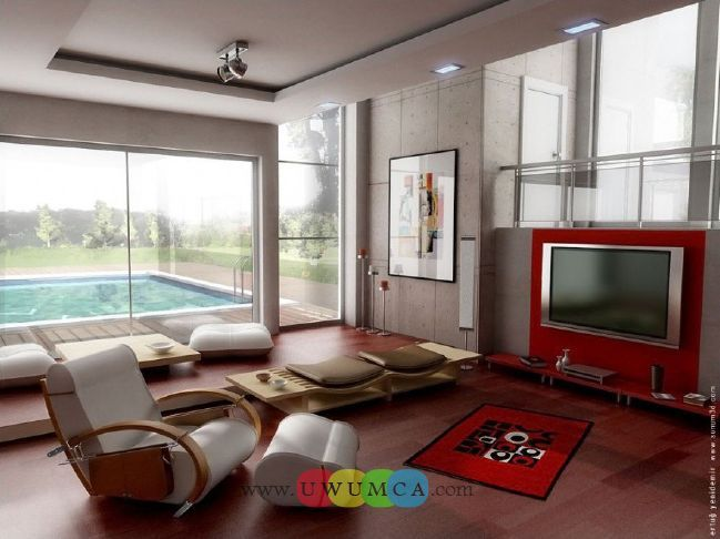 Living Room:Modern TV Wall Units 10 In Vibrant Red Color Decorating Brazilian Living Room And Lighting With Sofa Furniture Coffe Table Chairs Rug Design Decor For Luxury Living Room Decor of an Art Collector by Gisele Taranto