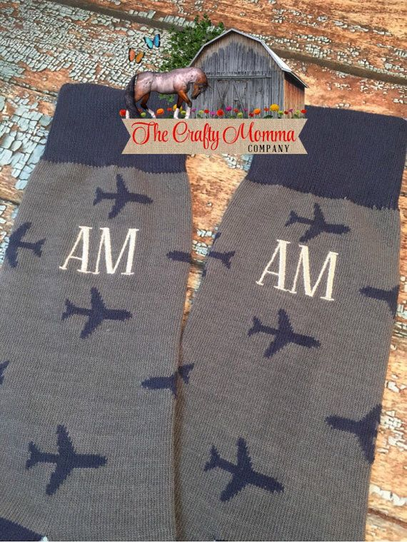 Mens Monogrammed Airplane Pilot Socks  Crew by TheCraftyMommaCo