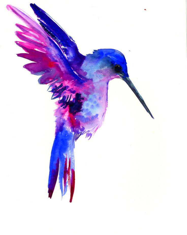 Flying Hummingbird, 12 X 9 in, original watercolor painting, flying bird art minimalist blue art by ORIGINALONLY on Etsy