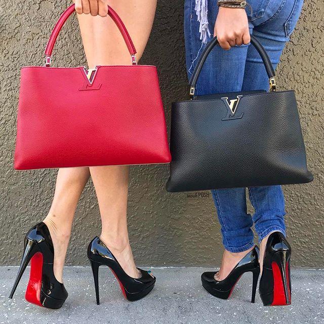 Red Sole High Heel Pumps Louis Vuitton Louboutin Shopping Bag
