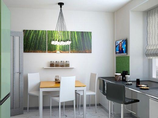 Изумрудные цвета, выбранные для кухни, освежают ее и делают прекрасно располагающей для праздничных посиделок с друзьями. Стоит отметить, что для кухонного «фартука» была выбрана зеленая стеклянная мозаика, такая как в ванной комнате.