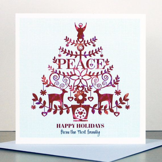 A Set Of Personalised 'Peace' Christmas Cards by ...
