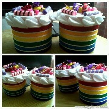 Felt Cookies Canoster   Rainbow cake theme