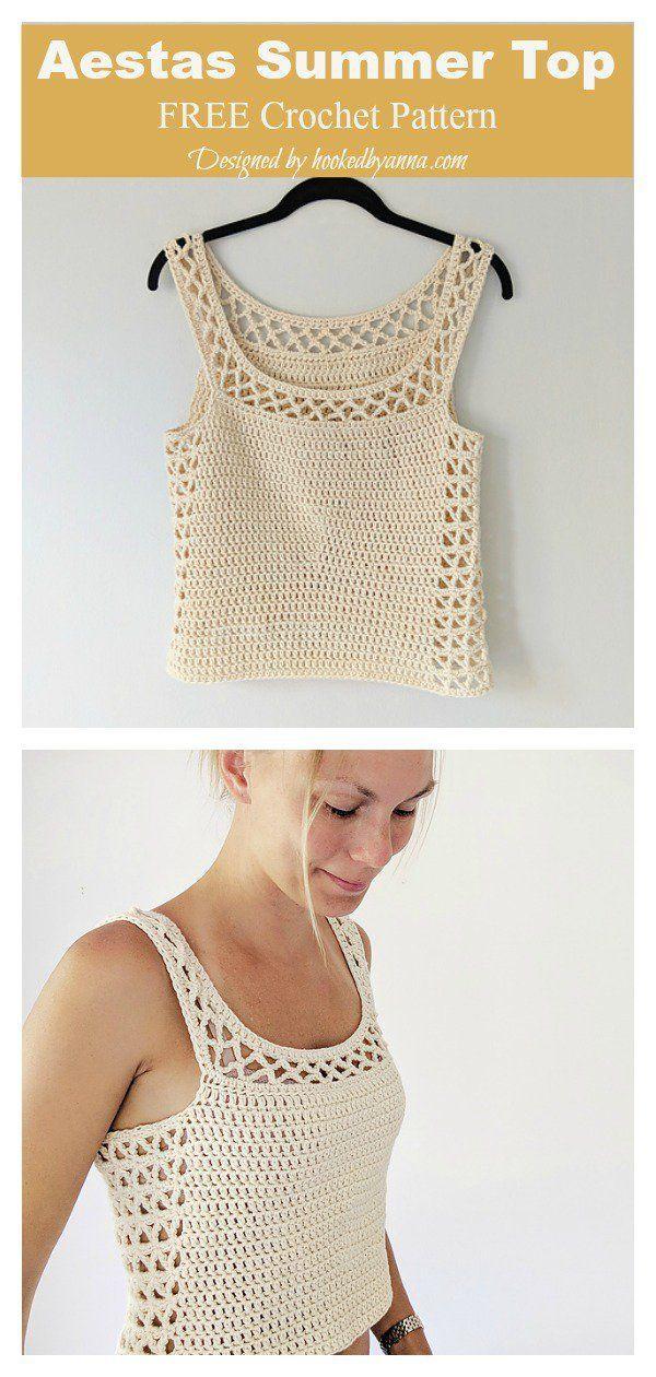 Aestas Summer Top Free Crochet Pattern #coolcreativityfreepattern #crochettop #t…