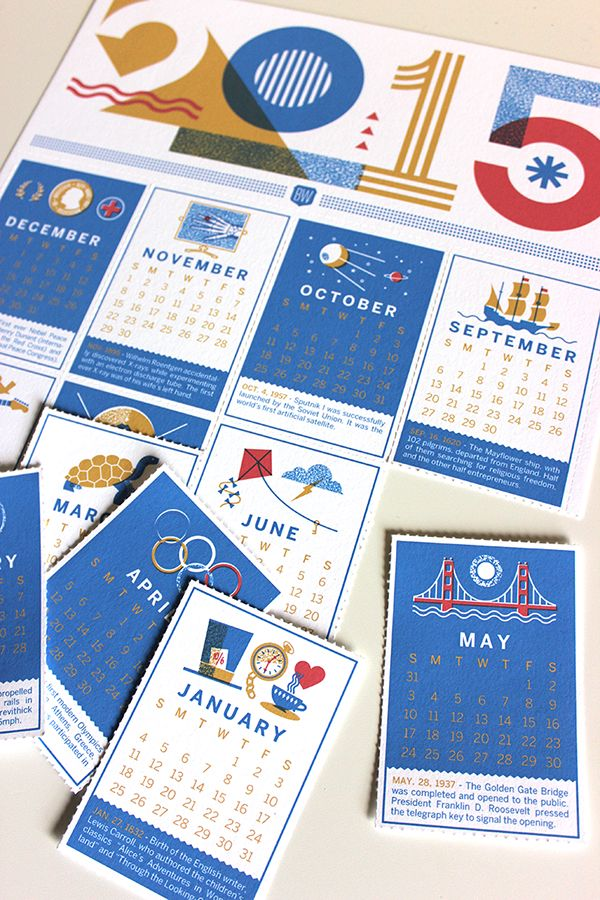 2015 Brave Wall Calendar where each month is paired with an important event that happened that month in history. Each month is perforated if you choose to tear them off as their own fact card and mini calendar.