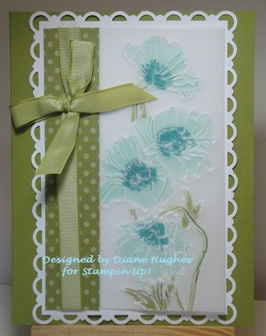 run vellum with embossing folder, color on wrong side of vellum with markersStampinup, Pencil Crayons, Blue, Flower Gardens, Side Bows, Flowers Garden, Markers Flower, Gardens Embossing, Dh Poppies