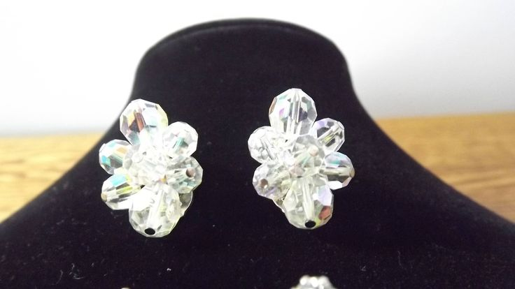 Vintage Signed Sherman Clear Crystal Bead Clip On Earrings, Fantastic Floral Clusters by OutrageousVintagious on Etsy
