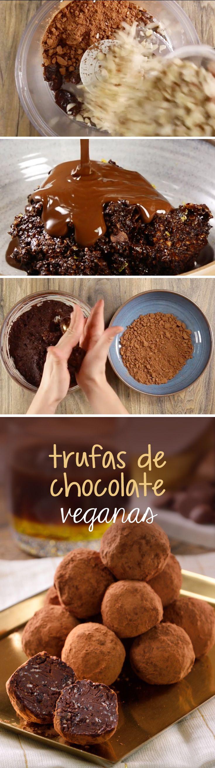 Trufas de chocolate energéticas sin lácteos veganas para preparar en casa con un triturador de alimentos.