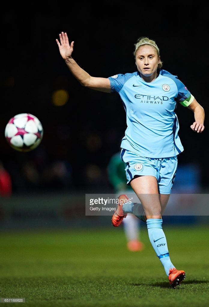 Steph Houghton of Manchester City in action during the UEFA Women's Champions League match between Fortuna Hjorring and Manchester City at Bredband Nord Arena on March 23, 2017 in Hjorring, Denmark.