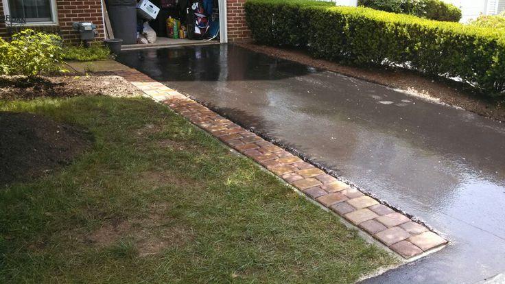 Decorative Paver Driveway Extension Using Concrete Base