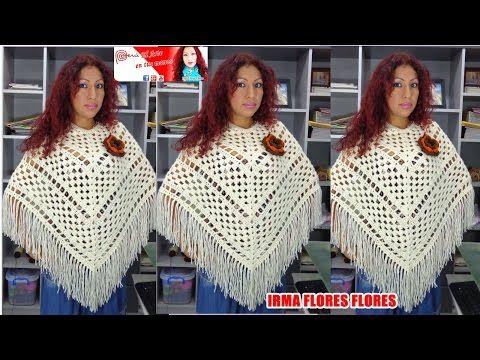 Poncho Capita tejida a crochet, con flores paso a paso (parte 1 de 3) - YouTube