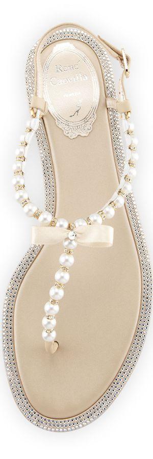 RENE CAOVILLA Crystal Trim Pearly Thong Sandal, Ivory