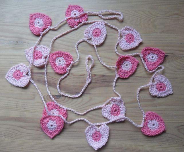Pink heart crochet bunting £15.00