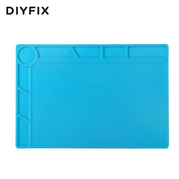 DIYFIX 34x23 cm Panas Isolasi Silikon Pad Meja Tikar Pemeliharaan Platform BGA Perbaikan Stasiun Solder dengan 20 cm skala Penguasa