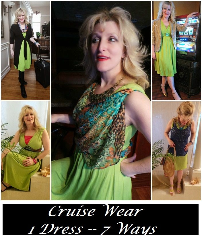 Cruise wear | Cruise Fashions | One Dress-Seven Ways | @monroeandmain   Presented by Still Blonde after all these YEARS Modeled by the Chief Blonde, Shelley Zurek (52) Fashion for Women over 45 and Fashion for Women over 50