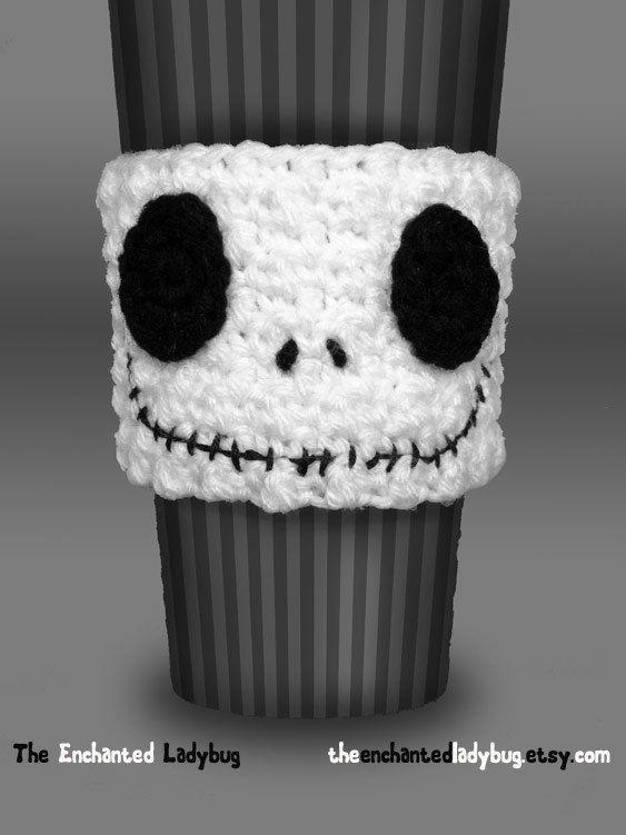 Crocheted Jack Skellington Coffee Cup Cozy