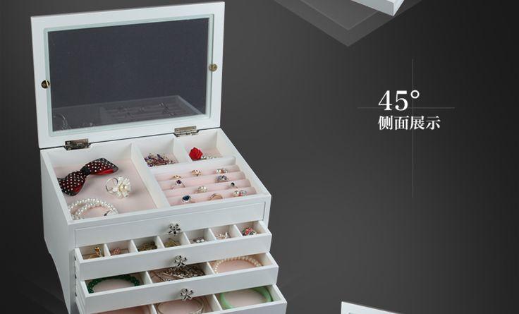 Деревянная коробка для ювелирных изделий ювелирные изделия многослойные выдвижного типа шкаф для хранения кольцо шкатулка фланель туалетный ящик коробка для ювелирных изделий купить на AliExpress