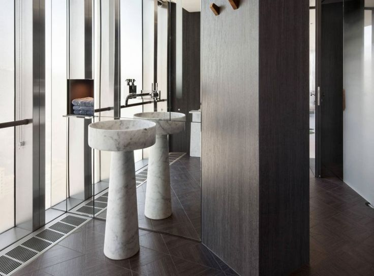 Apartment : Stylish Ritz Apartment in Almaty, Kazakhstan by COORDINATION - Shiny Glass Wall Paneling of Ritz Apartment by COORDINATION Combined with Granite Pedestal Sink and Unique Wall Shelf medium version