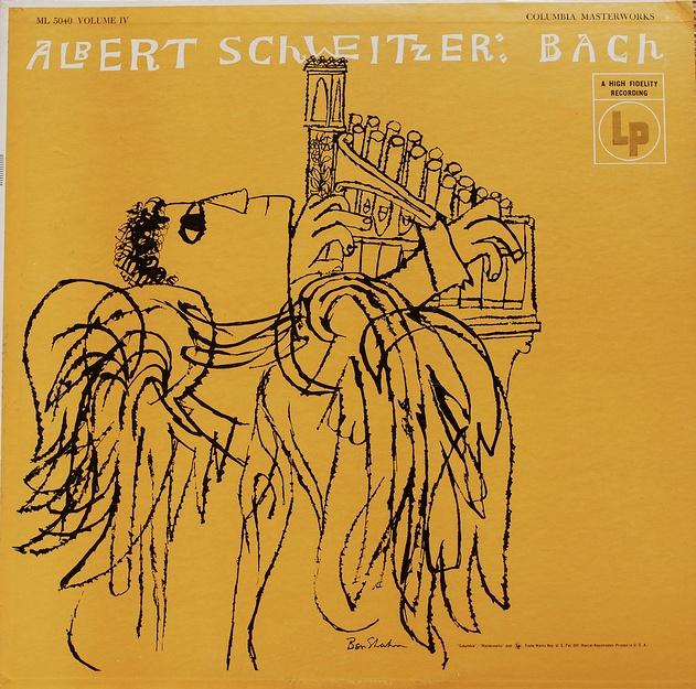 Album cover design by Ben Shahn.  Albert Schweitzer: Bach  Columbia Records.