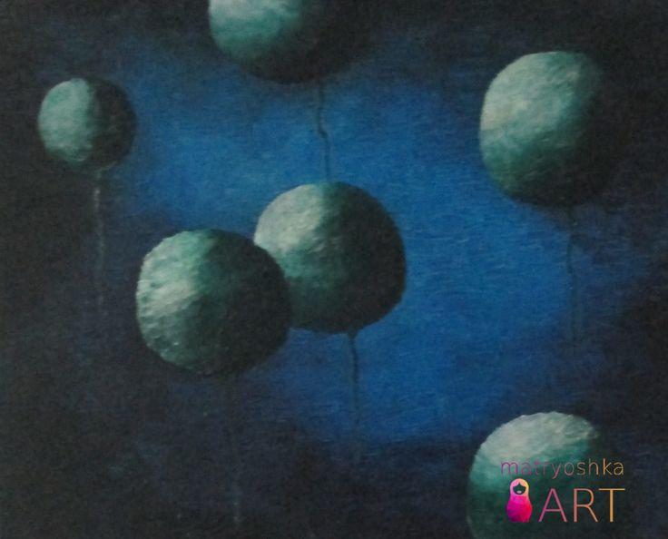 """mój pierwszy w życiu rękoczyn: Kosmos 1, 80 x 100, obraz olejny z akrylami, Piaseczno 2012 """"Te moje planety wyglądały początkowo jak wynik niedokładnej analizy. Warto więc mieć oczy szeroko otwarte i nie poddawać się rutynie. Bo ona, choć potrzebna, zabija postęp. Trzeba zawsze o tym pamiętać. To jedyny sposób, by od czasu do czasu wyłamać się z rygorów przyzwyczajenia i zrobić krok naprzód."""" [Aleksander Wolszczan]"""