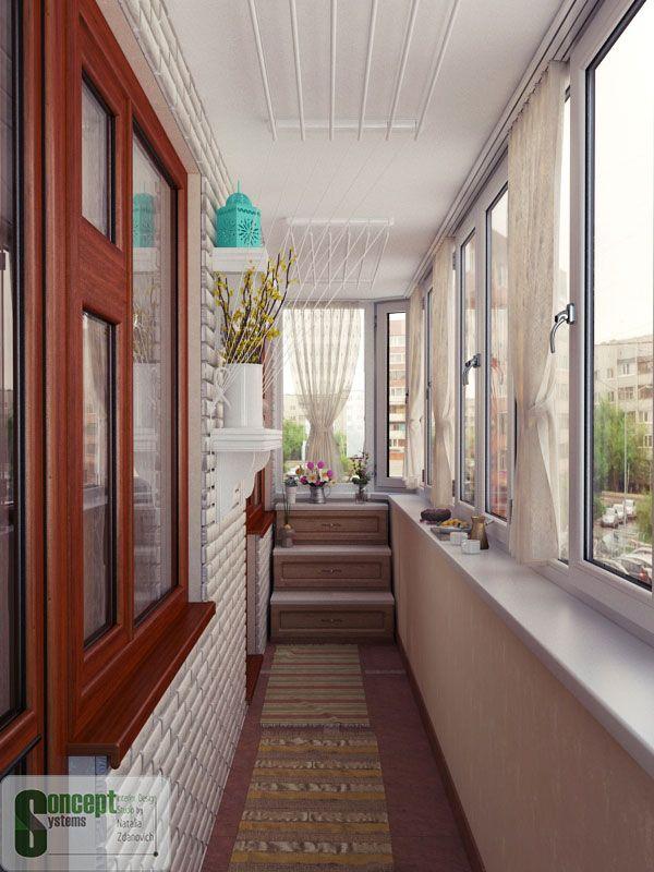 Потолочные сушилки Лиана на балконе.