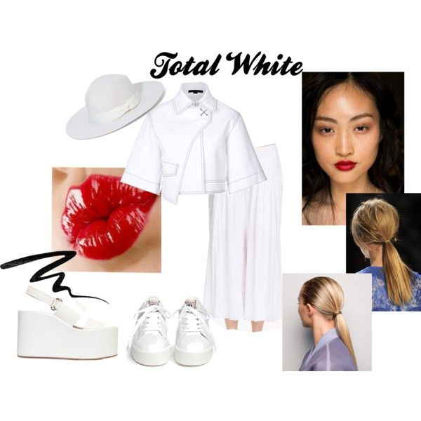 Total White by una-pulkstene on Polyvore featuring moda, Alexander Wang, Jeffrey Campbell, Ash, Olive & Pique, Eyeko and Rossetto