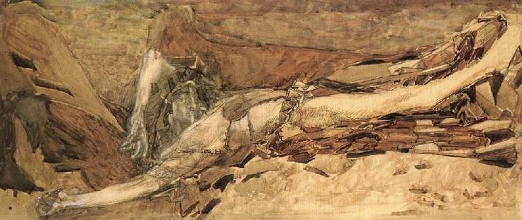 Demon cast down, sketch 1901 Mikhail Vrubel