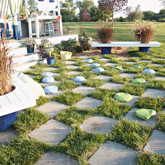 Create an interesting landscape feature and keep guests of all ages entertained with an outdoor checkerboard.