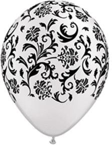 """Wedding - Balloons 11"""" Round Damask Print - Pearl Whi (5CT) - Item B123-70494 - Discount Party Supplies"""