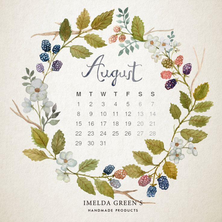 2016 august downloadable floral wreath calendar