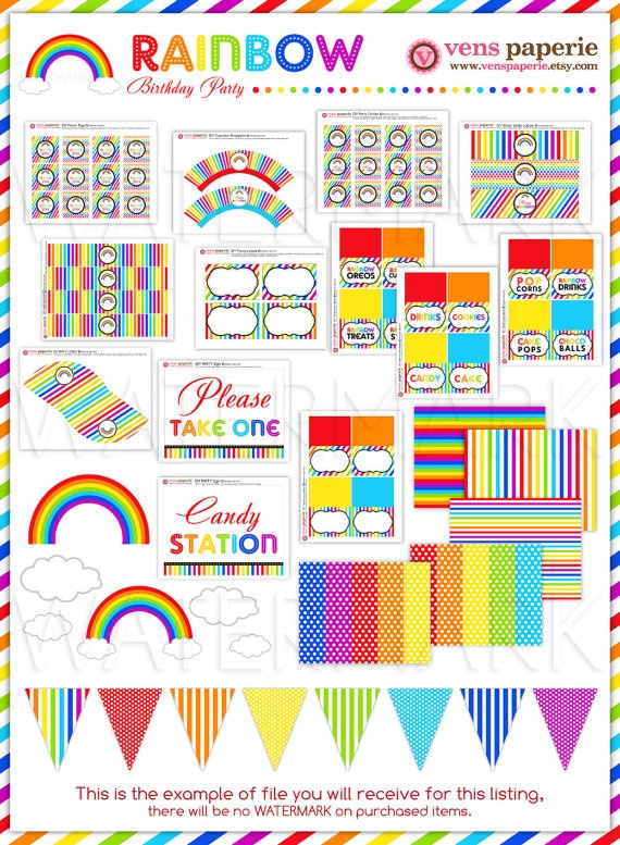Rainbow Birthday Party Package Personalized FULL by venspaperie, $35.00